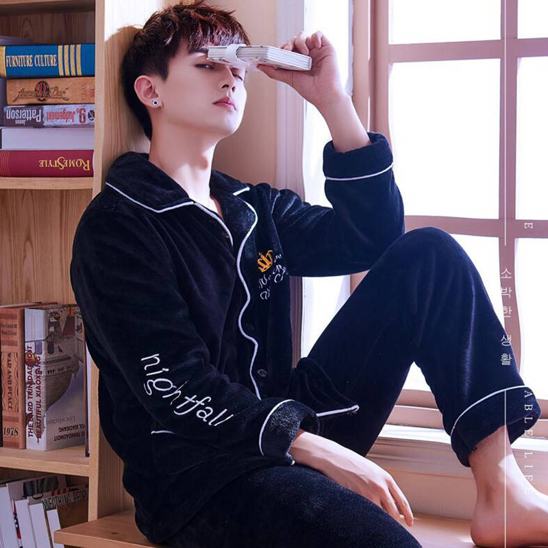 Coral Fleece Pajamas Men's Winter Long Sleeve Sleepwear Suit Home Clothing Thickened Flannel Plus Velvet Leisure Nightgown H5645