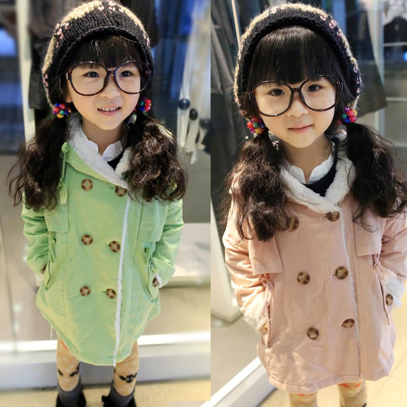ФОТО Free shipping Autumn new girls double-breasted trench coat hat children clothing