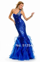 High-Grade Blue Prom Dresses Mermaid One Shoulder 2013 New Arrival Sequin Colorful Beads Organza PT-11524