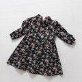 2-7 años 2016 de Otoño de manga Larga Baby Girls Vestidos de Flores de Algodón Toddler kids school A-line Niños negro impreso ropa