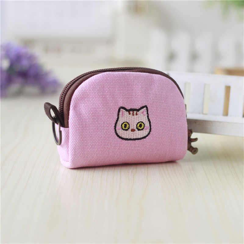Холщовый Женский мини-кошелек с вышивкой кота из мультфильма, детский маленький мешочек, мини-кошелёк, Женский кошелек carteira feminina для девочек и мальчиков