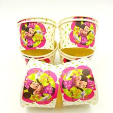 10pcs/lot Disney Minnie Mouse Ice Cream Cup Minnie Mouse Ice Cream Bowl Disposable Factory Selling Party Supplies все цены