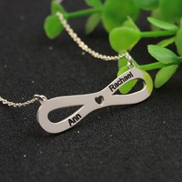 Personalised Infinity Necklace Stamping 2-4 Names Customized Love Jewelry Hollow Wholesale