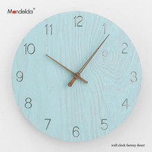 OEM Mandelda Blue Arabic Numeral Dial Wall Clock Novelty Home Decro Quartz High Quality Waterproof Silent Large Round