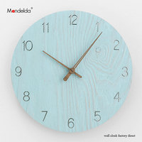 OEM Mandelda Blue Arabic Numeral Dial Wall Clock Novelty Home Decro Quartz High Quality Waterproof Silent Large Round Wall Clock