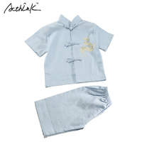 ActhInK Baby Boys Summer Cotton Linen Tang Suit Brand Embroidery Dragon Chinese Traditional Style Performance Set