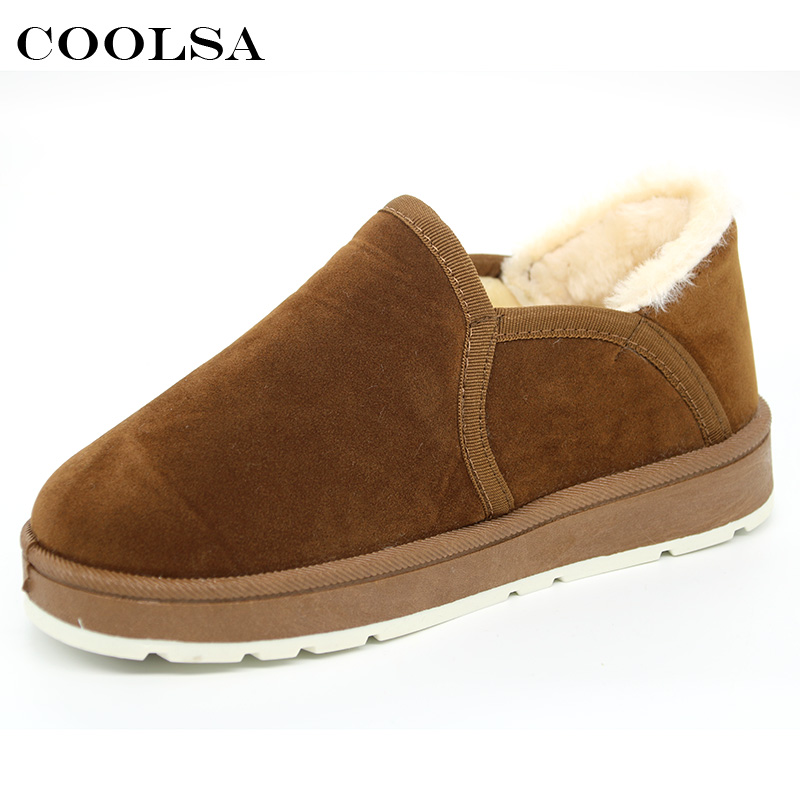Coolsa Winter Women Ankle Snow Boots Classic Genuine Leather Suede Booties Plush Fur Short Boots Fashion Female Warm Botas Mujer snow fur slip on fashion round toe winter boots women ankle flat shoes celebrity gray bow booties chinese female short new