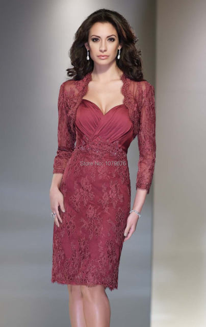 Hot Burgundy Modern Lace Beaded Mother Of The Bride Dress With Jacket Knee Length
