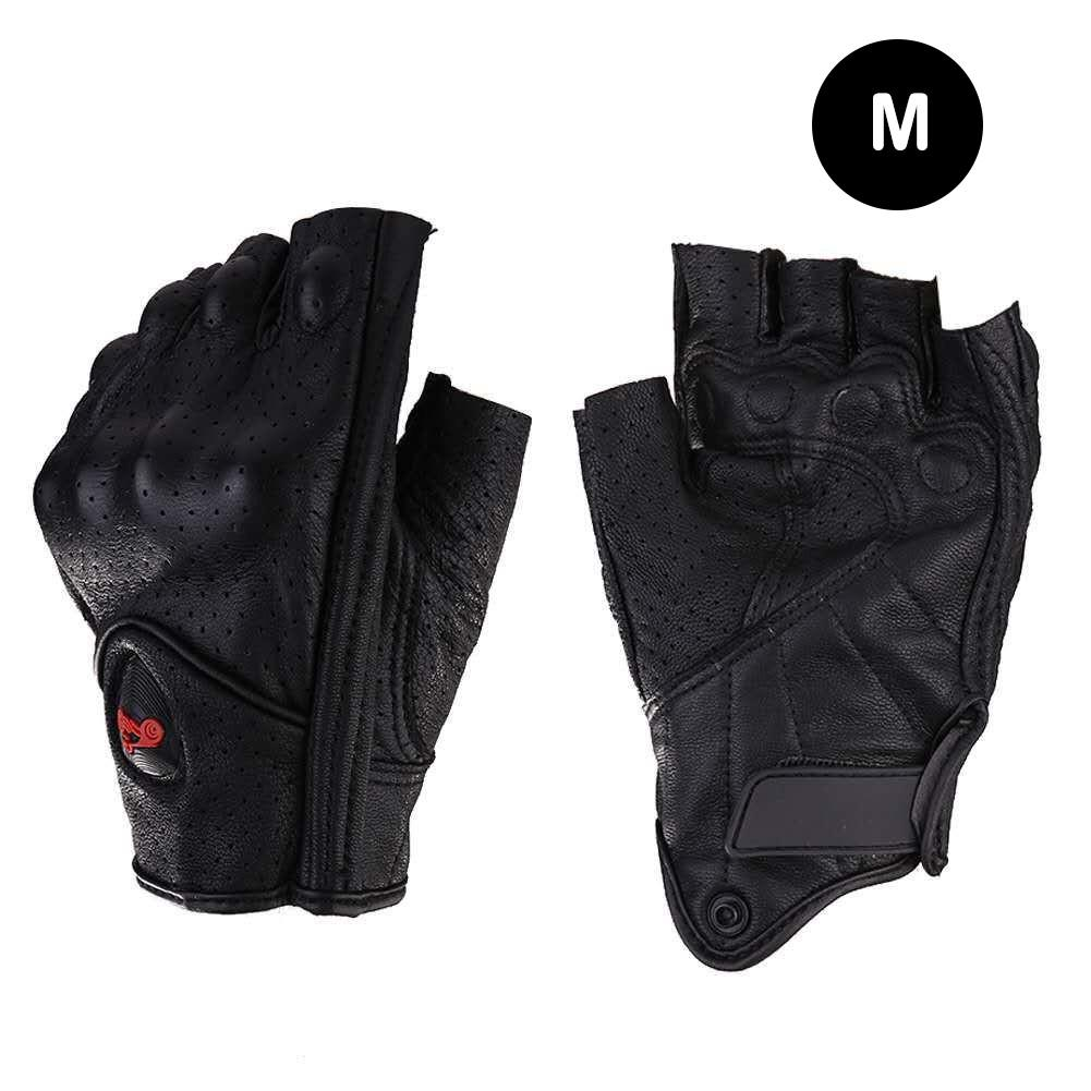 Image 5 - Motorcycle Gloves Leather Summer Breathable Half Finger Gloves Unisex Mitt Fingerless Glove For Men Women Scooter Moto Mitten-in Gloves from Automobiles & Motorcycles