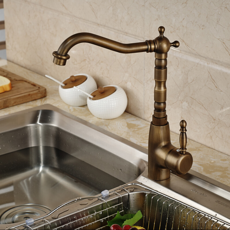 ФОТО Antique Brass Rotation Kitchen Mixer Faucet Single Lever Water Tap One Hole Hot and Cold Water