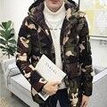 2017 jaqueta de inverno para baixo dos homens zipper slim fit Camuflagem com capuz acolchoado casaco homens parka sólida dos homens casacos de inverno e casacos
