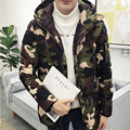 2017 winter jacket down men zipper slim fit Camouflage quilted hooded coat men parka solid men winter jackets and coats