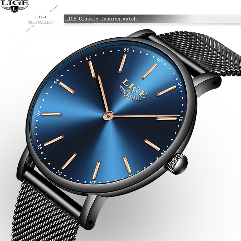 Watch Women LIGE Brand Luxury Waterproof Quartz Clock Ultra Thin Fashion Watch Mesh Belt Business Mens Watches Relogio Feminino все цены