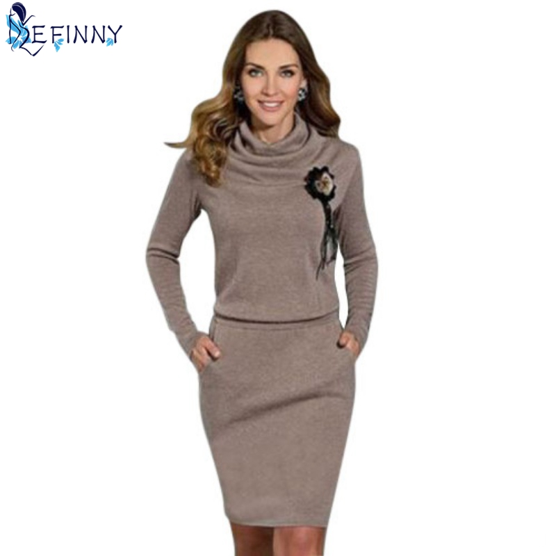 EFINNY Fashion Women Dress Autumn Spring Casual Dresses Long Sleeve Party Knitted Dress Lady Vestidos