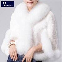 2017新しい毛皮フェイクコートミンク毛レックスウサギの毛ケープジャケット黒白い毛皮のオーバーコート模