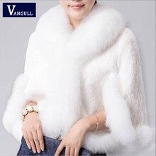 Abrigo de piel sintética de invierno Vangull, collar de imitación de conejo, abrigo de piel sintética de visón, pelo de conejo Rex, nueva chaqueta de capa de moda