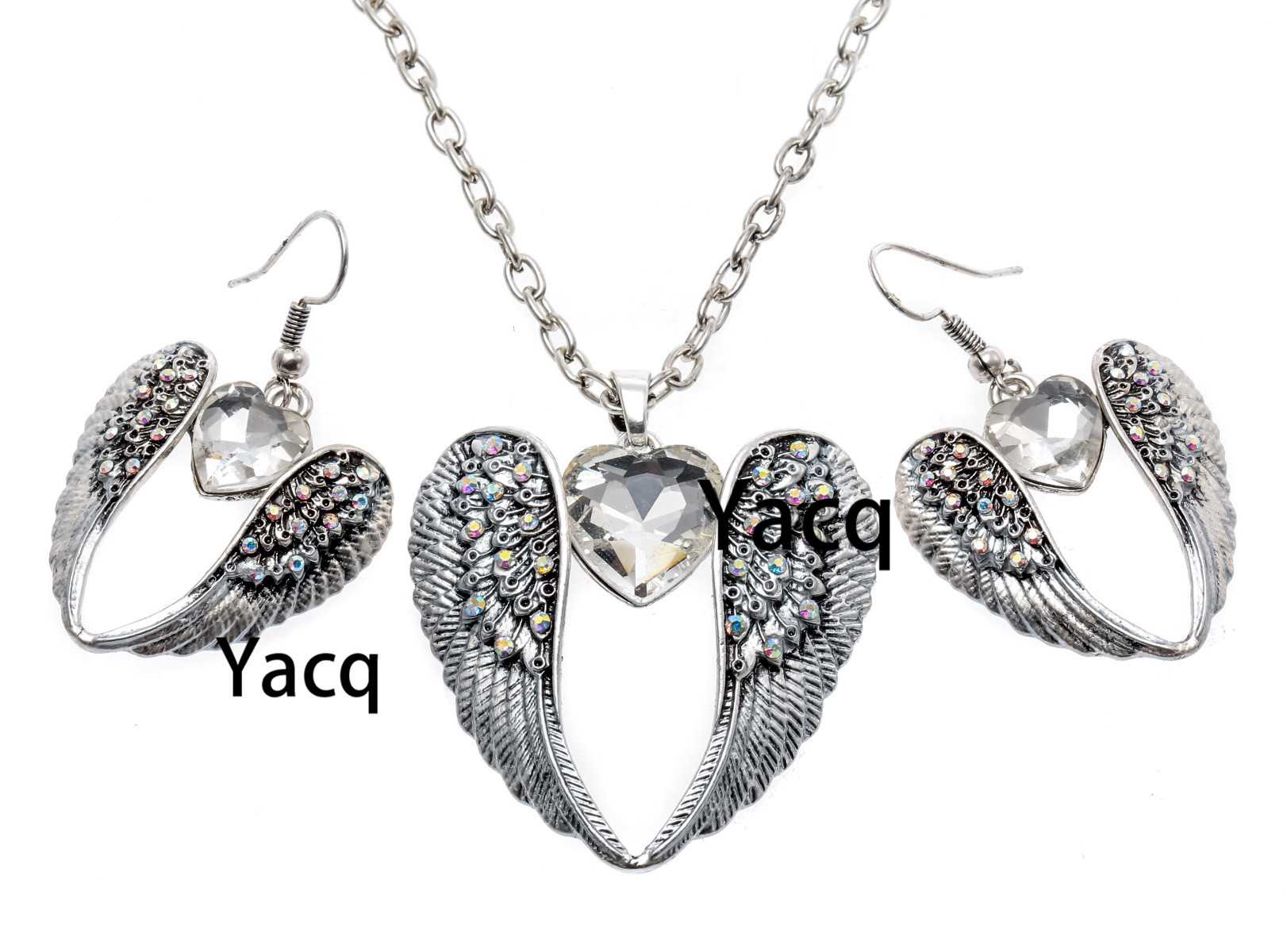 YACQ Guardian Angel Wing Heart Necklace Earrings Sets Antique Silver Color Women Girls Crystal Jewelry Gifts Dropshipping ENC06 joyashiny made with swarovski element crystals angel pendant necklace cute silver color wing jewelry chic gifts for kids girls