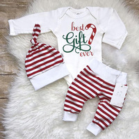 3PCS Baby Set New Years Infant Girls Outfits Letter Printed Cotton Long Sleeve Romper Pants Hat