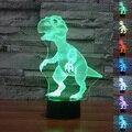 3D Dinosaurio Interruptor Del Tacto LED 7-que Cambia de color de Luz de Noche Lámpara de La Decoración de Escritorio con cable USB Creativo Regalo de Año Nuevo