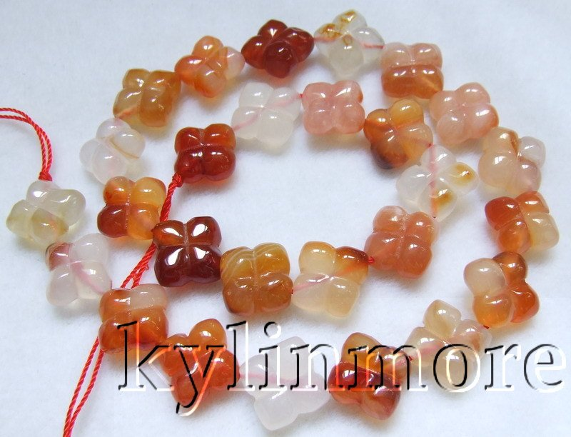 12mm Natural Carnelian Carved Flower Beads 15.5''