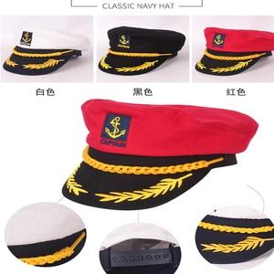 Image 3 - JUILE LI Parent child navy hat cotton fashion military cap red black white classic captain hat men and women children sailor hat
