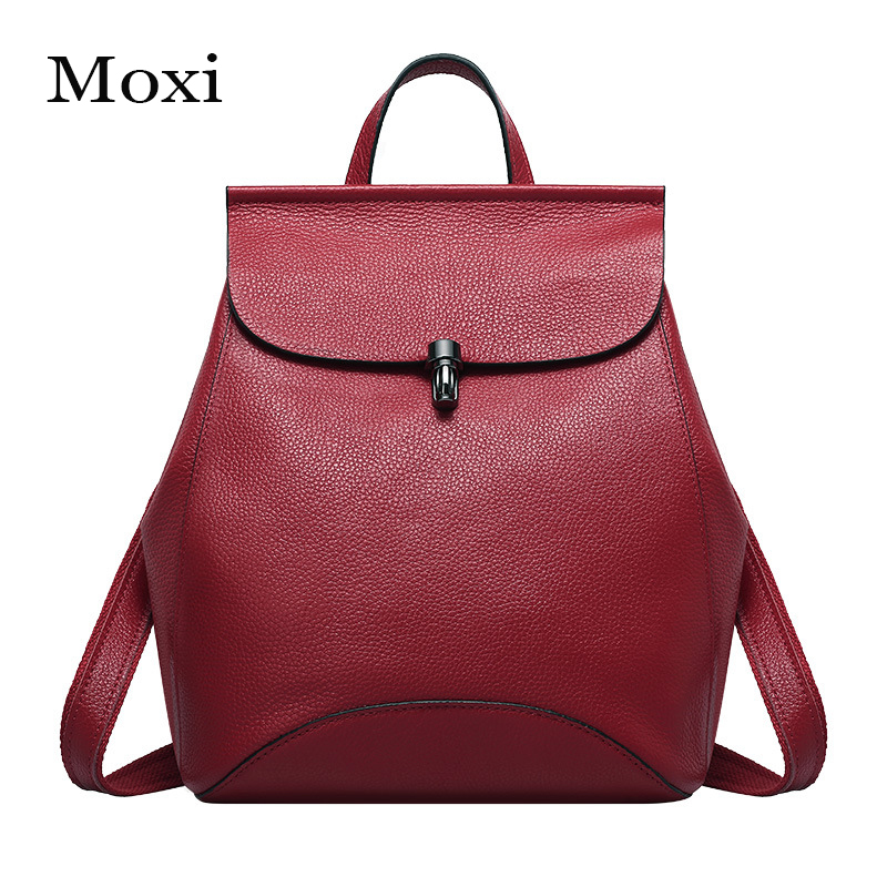 Moxi Engladn Style Women Backpack Genuine Cow Leather Shoulder Bag Solid Color Women School Bag High Quality Leather Women Bag
