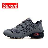 SUROM Brand Men Running Shoes Sport Outdoor Black Trekking Sneakers Summer Jogging Krasovki Non slip Tactical Camping Men Shoes