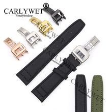 CARLYWET 20 21 22mm Green Black Nylon Fabric Leather Band Wrist Watch Strap Belt With Stainless Steel Buckle