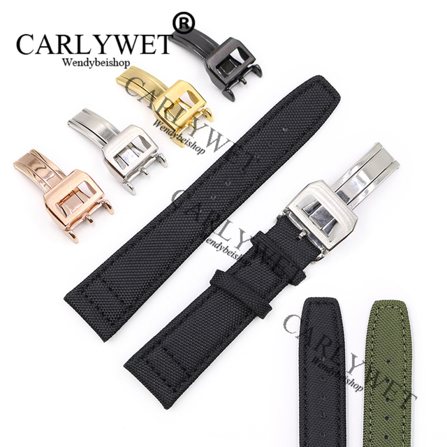 CARLYWET 20 21 22mm Green Black Nylon Fabric Leather Band Wrist Watch Strap Belt