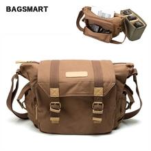 лучшая цена BAGSMART Water Resistant Vintage Camera Shoulder Bag Canvas Messenger Bag Canon Nikon DSLR Camera Bags To Travel Casual Satchel