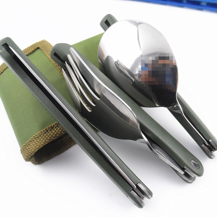 Set Of Folding Stainless Steel Utensils For Hiking Outdoor Travel Camping
