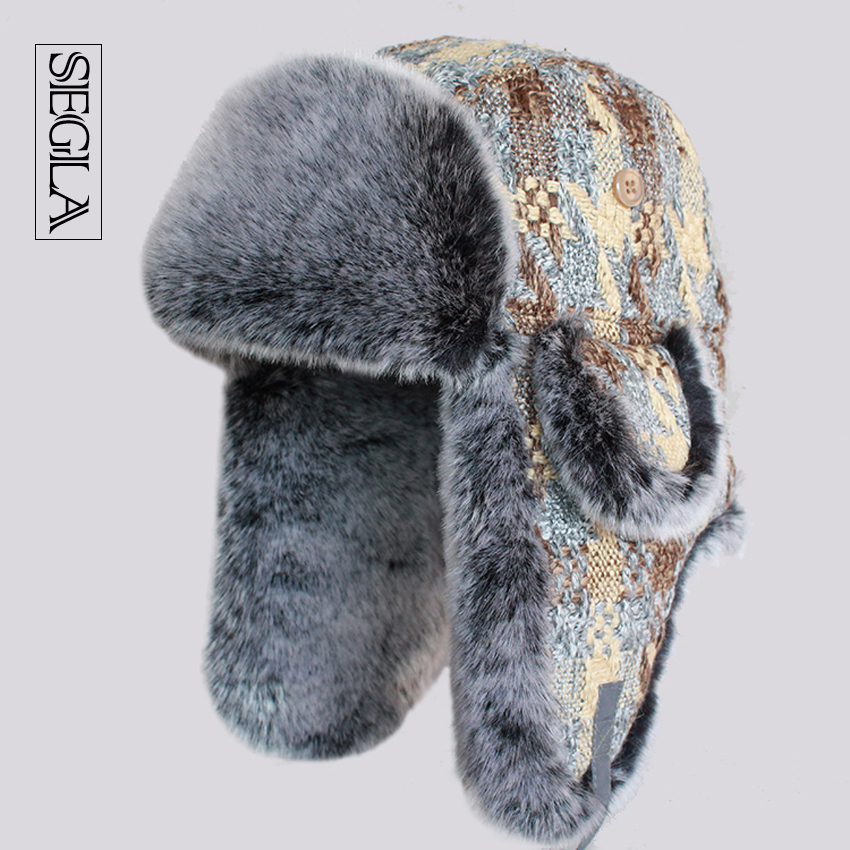 458ac2a86ade5 SEGLA Women and Mens Bomber Hat Winter Warm Faux Fur Snow Ski Caps Woolen  Knitted Thicken Earflaps Russian Ushanka Trapper Hats-in Bomber Hats from  Men's ...