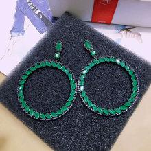 Большие круглые дизайнерские серьги joyas с фианитом и черным