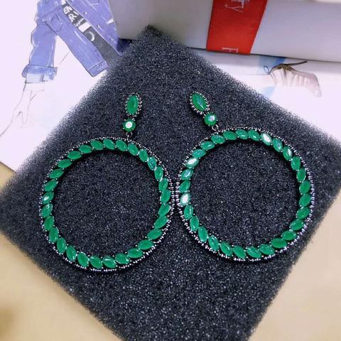 Купить большие круглые дизайнерские серьги joyas с фианитом и черным