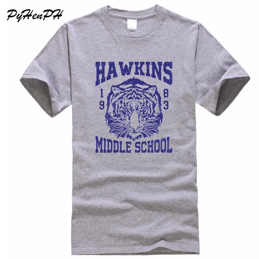 2018 Summer Style Étranger Choses T chemises Hommes Hawkins Collège Tigre 1983 Imprimé T-shirt Occasionnel 100% Coton T-shirt