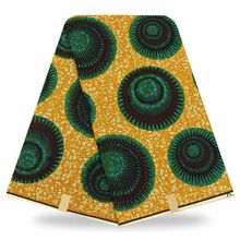 Yellow Wax fabric 6yards Dutch Wax/ Ankara print fabric/ For Kitenge Dress YBGHL-43