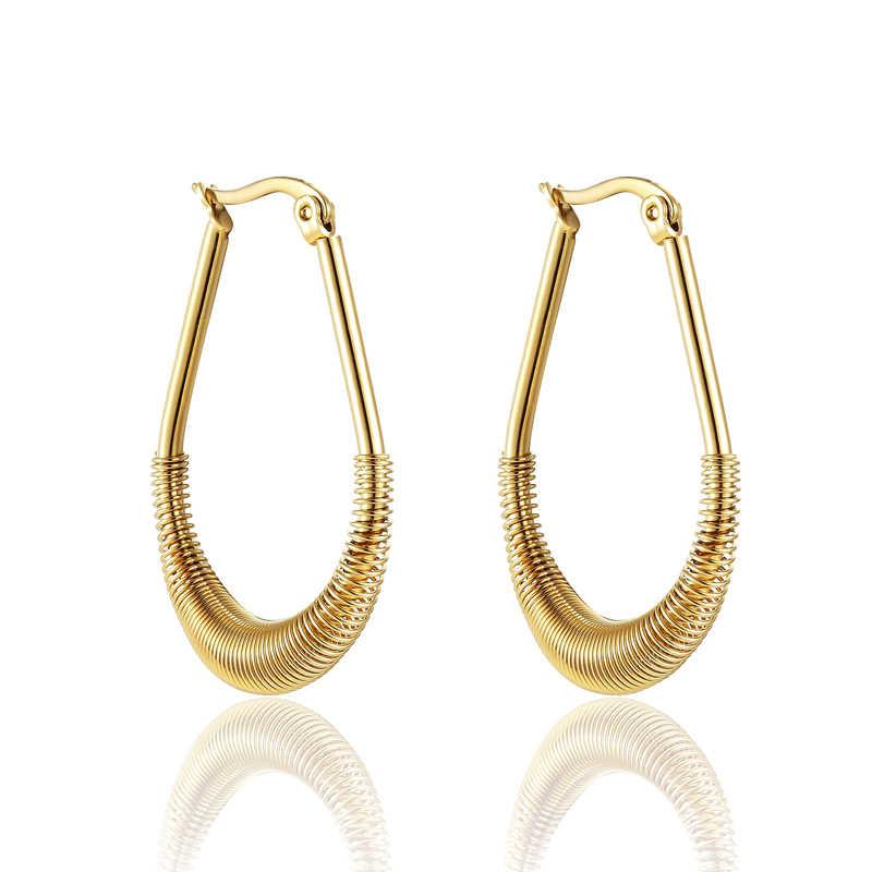 Half Full Gold Circle Hoop Earring