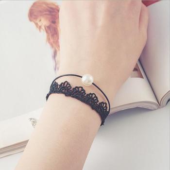 Vintage imitation pearl sun black lace bracelets 1