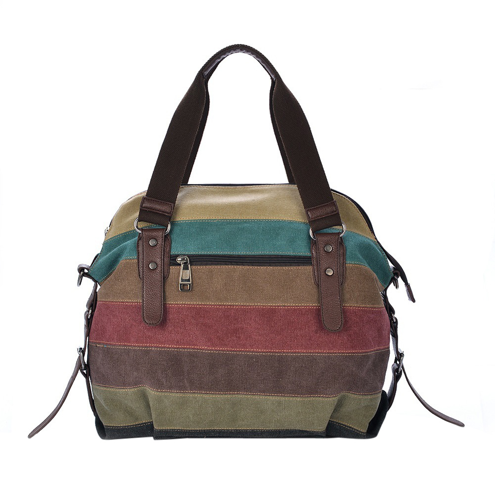 Fashion Casual Striped Print Print Canvas Handbag Women Messenger Bags Crossbody Crossbody