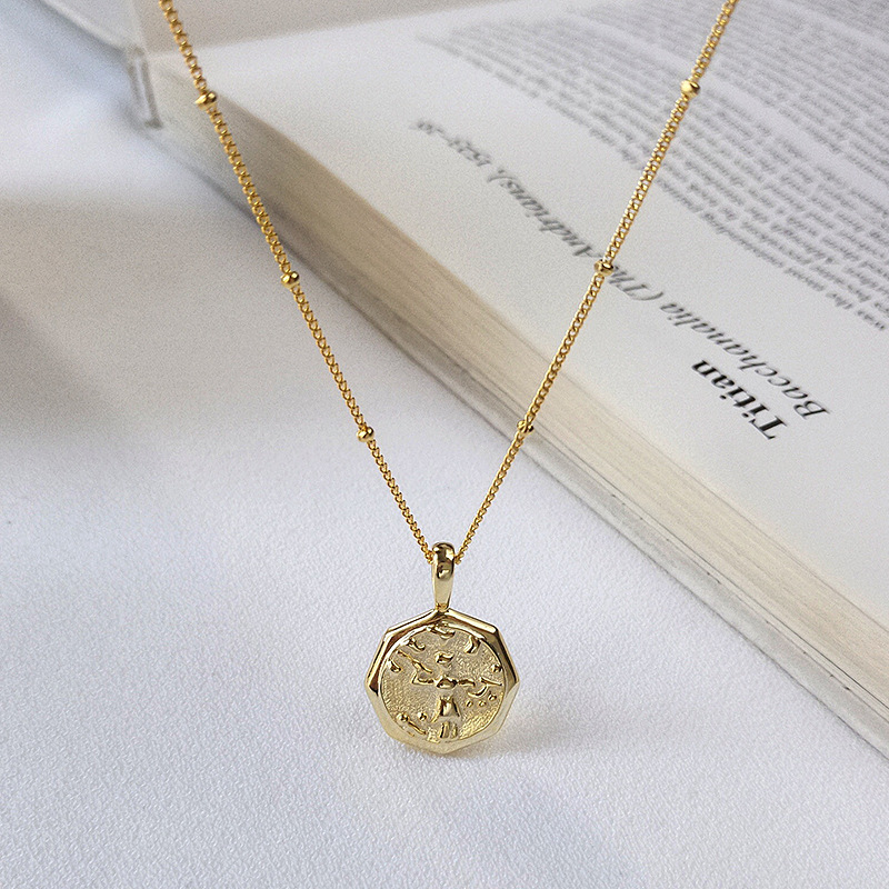 New Fashion Jewelry Retro Celebrity Style Abstract Portrait Pendant Necklaces 925 Sterling Silver Golden Silver Coin NecklaceNew Fashion Jewelry Retro Celebrity Style Abstract Portrait Pendant Necklaces 925 Sterling Silver Golden Silver Coin Necklace