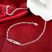 925 Silver Anklet Foreign Trade Simple Zircon Lengthened Chain Lobster Style Barefoot Fashion Jewelry geometry Anklets
