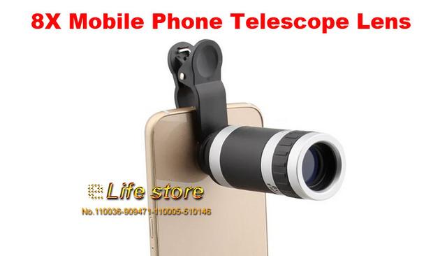 8x zoom óptico del teléfono móvil lente del telescopio clip universal para samsung galaxy a3 (2017), asus zenfone 3 ze520kl