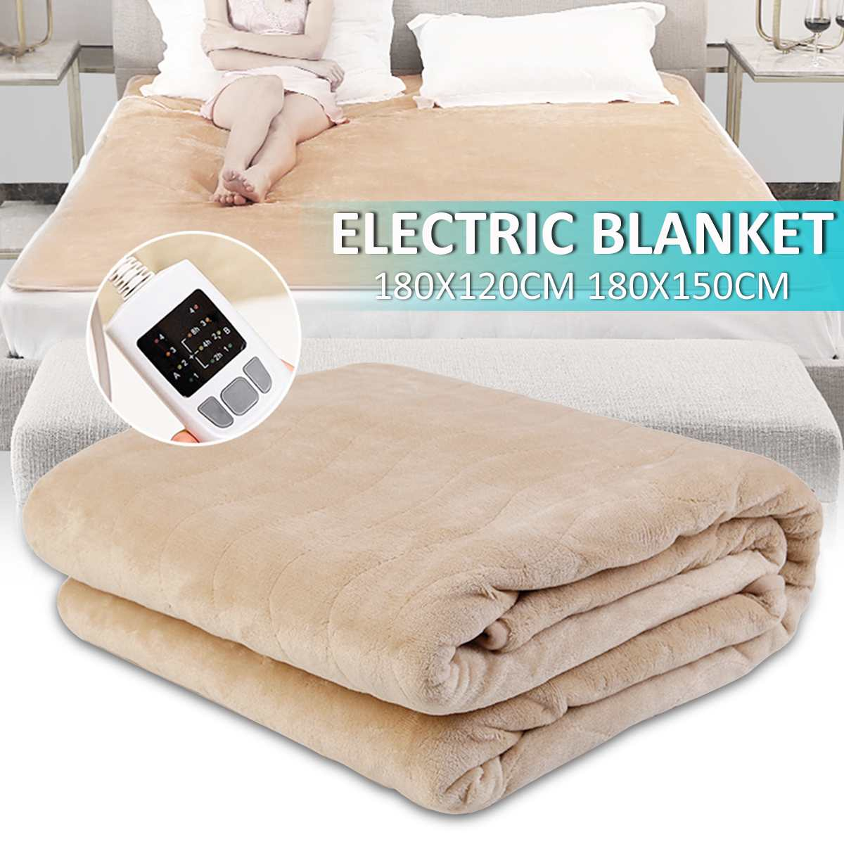 180cm Waterproof Electric Flannel Blanket Dual Heating Double Body Warmer Bed Heated Pad Winter Mattress Carpet W/Remote Control
