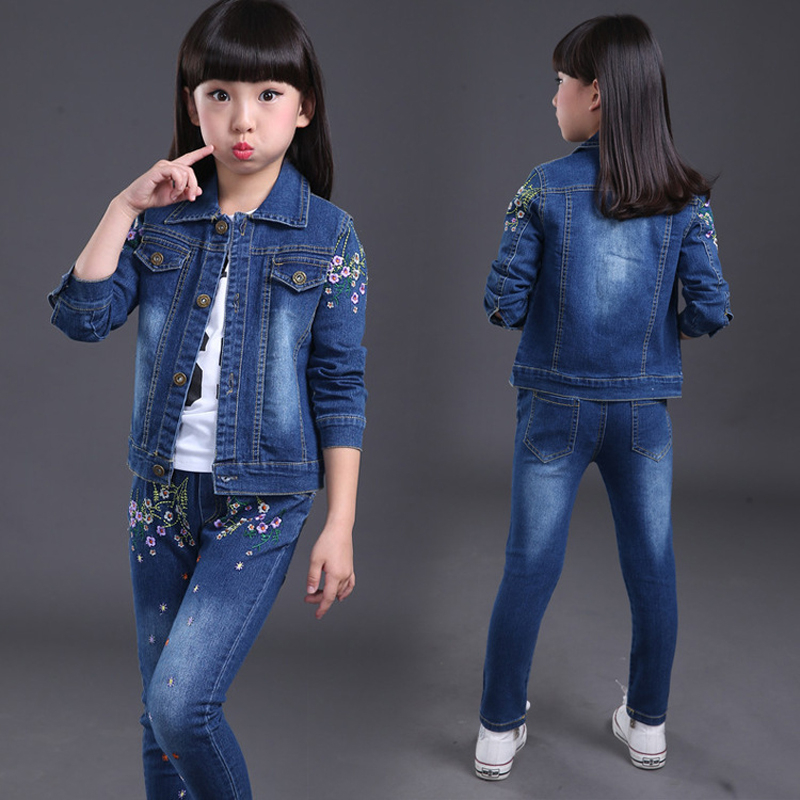 New 2018 Children Girls Kids Cotton Embroidery Floral Denim Coat Jacket+Pants Clothing Sets Tracksuit For Girls Clothes Set 61 2017 high quality girls luxury sequin denim jacket pants clothing set kids clothes sets jeans coat trousers two piece set