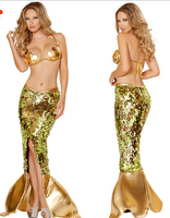Sereia Sexy Traje Feminino Sereia Caudas Cosplay Festa Halloween Costume Lantejoulas De Ouro Metálico Sereia Princesa Traje Vestido