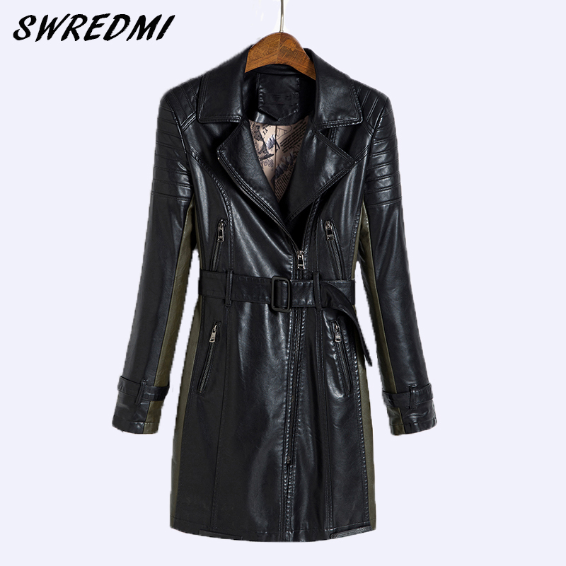 SWREDMI 2018 New Slim Casual Women   Leather   Jacket Black Spliced Army Green   Leather   Coats Long Plus Size 5XL Motorcycle Clothing
