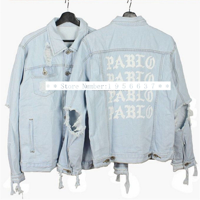 2016 New Fashion Brand Clothing Kanye West I Feel Like Pablo Denim Jacket Men Hip Hop Streetwear