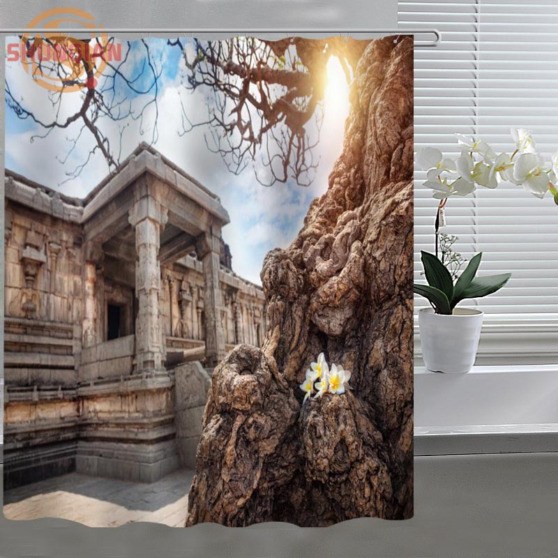 Ancient Roman Architecture Shower Curtain Eco Friendly Modern Fabric  Polyester Custom Shower Curtain Home Decor