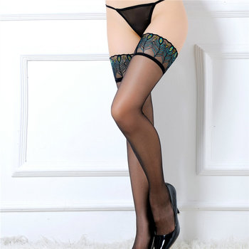 Lace Lingerie Stockings Peacock Pattern