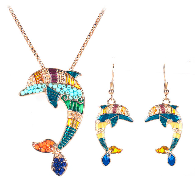 Women's Enamel Dolphin Necklace and Earrings Set 2